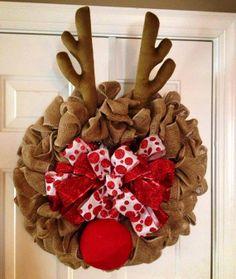 Burlap Rudolph Reindeer Holiday Wreath