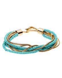 Michael Kors Turquoise Snake Chain Multi-Strand Bracelet, $95