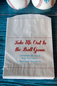 favor bags, baseball parties, birthday parties, popcorn bag, basebal parti