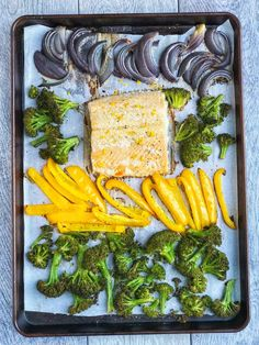 This sheet pan citrus salmon with roasted vegetables is a one-dish dinner that's simple to throw together at the last minute. If you're looking for a lighter meal that's lower in carbs and high in protein, this is it. Gluten-free and dairy-free.