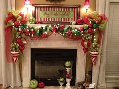 Christmas Fireplaces Decoration Ideas - I like the large ornaments on each side.