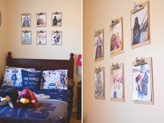 19 ways to display photos in your home - I love this clipboard idea!
