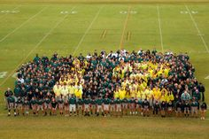 Cool Senior Panoramic Photo Idea! yearbook themes 2015   We assembled the student body and the seniors were in yellow rain ...