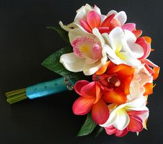 Sunset Beach- Tropical Bridal Bouquet with real touch orchids, calla lilies and plumeria- Beach Wedding on Etsy, $165.00. Matching Plumeria Groomsmen BOUTONIERRES.