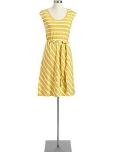 Women's Belted Cap-Sleeve Dresses | Old Navy
