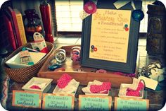 "Cute fall baby shower...with a ""make a headband"" station.  When you are finished you add a little note to it. :)"