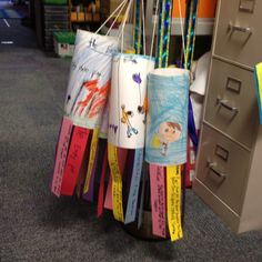 Made these today.. fun! Story map wind socks. They draw a picture of their favorite part of the story on the cylinder. Then there are 5 paper streamers attached, each describing a part of the story: title, characters, setting, problem, and solution.
