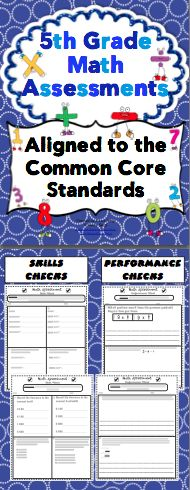5th Grade Common Core Math Assessments: All Standards Bundle: This pack contains 2 assessments for each of the 5th Grade Common Core Math Standards. There is a skills based assessment and the a performance based assessment for each standard. Wow! $