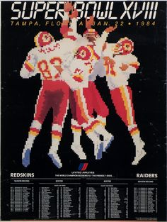 Super Bowl XVIII, 1984. Redskins vs. Raiders. United Airlines advertising poster. #MuseumSuperBowl