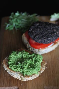 Mushroom Burgers with Garlic Scape Pesto