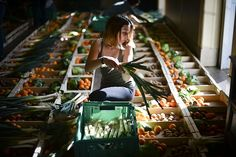 "A volunteer fills up boxes with fruit and vegetables at the ""Fruta Feia"" (Ugly Fruit) in Lisbon"