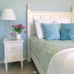 Restoration Hardware Glacier - soft blue that brightens depending on the light of the day, looks great against whites, creams, and bright citrus greens