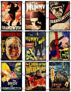 Vintage Halloween Horror Movie Monsters Collage by HopePhotoArt