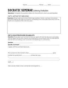 Socratic Seminar Listening Evaluation Worksheet