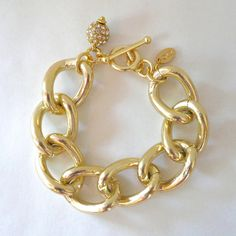 Chunky Gold Chain Link Bracelet with Crystal Pave Charm. $28.00, via Etsy.