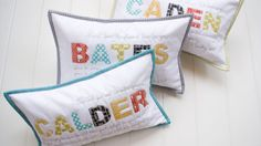 Children's name pillows with scripture verses embroidered above and below. (For sale on Etsy)