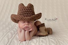 Baby Cowboy or Cowgirl SetIncludes Hat & Boots by sheepishhooker, $38.00