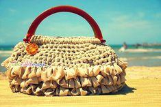 borsa in fettuccia, borsa all'uncinetto, fettuccia, manici vintage, borsa, uncinetto