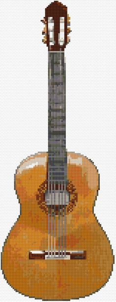 Cross Stitch | Classic Guitar xstitch Chart | Design classic guitar, xstitch chart, crossstitch, cross stitches, guitar cross stitch