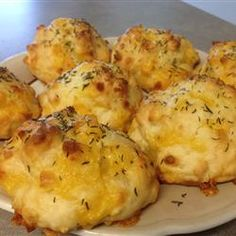 Cheddar Biscuits | Be sure to make small biscuits instead of big southern ones, or else the insides will be doughy!""