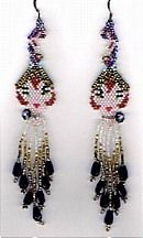 Erte Tribute Earrings Pattern by Charlotte Holley - Beaded Legends by Chalaedra at Bead-Patterns.com