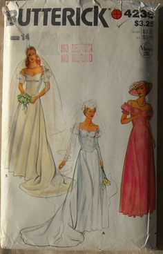 Vintage 80s Butterick 4235 Sewing Pattern Bridal Wedding Gowns Bridesmaids