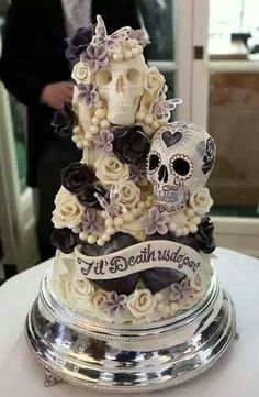 Skull roses and butterflies wedding cake til death do us part