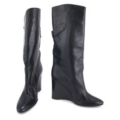 Balenciaga Black Leather Fold Over Buckle Wedge Boots - Size 36.5 - $390