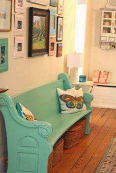 entry way bench, painted church pew