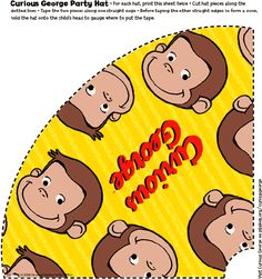 Printable Curious George party hat. Print two copies of this picture. (Print onto card stock for a sturdier hat.) Cut hat pieces along dotted lines. Tape the two pieces together along one straight edge. Tape the other sides to form a cone.