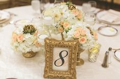 Gold frame table number // photo by www.cptphotography.com