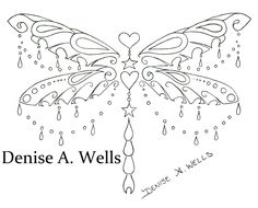 """Charm Dragon"" Dragonfly Tattoo Design by Denise A. Wells. Dragonfly Tattoo with hanging hearts and star charms and hanging chains. Ornate Dragonfly Tattoo Design."