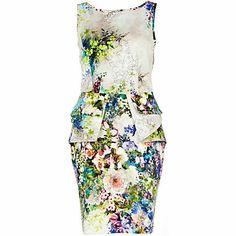 blue floral print structured peplum dress - peplum dresses - dresses - women - River Island
