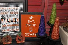 2011 Halloween Decor: Subway Art and Glittered Witches Hat