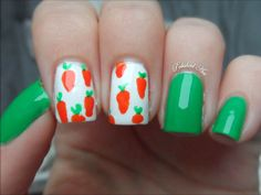 Easter nail ideas. carrots. white orange green. #nails DIY NAIL ART DESIGNS