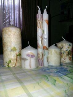 Velas decoradas con servilletas
