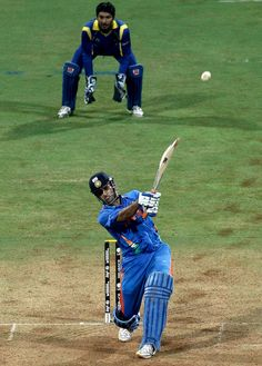 MS Dhoni scoring the winning runs during India vs SL World Cup 2011 finals.