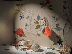 Very cool - embroidered wallpaper!