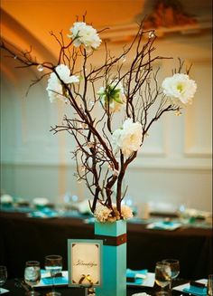 white flowers, stick, flower centerpieces, colors, weddings, tiffany blue, tree branches, crystal, wedding centerpieces