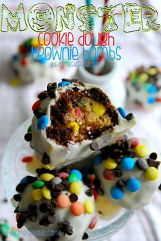 dough browni, browni bomb, recipes with cookie dough, candy bark recipes, brownie bombs, monster cookies recipe, creative recipes, monster cookie dough, cooki dough