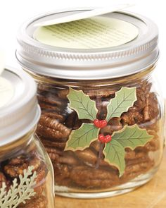 Spiced Maple-Glazed Pecans...love the jars