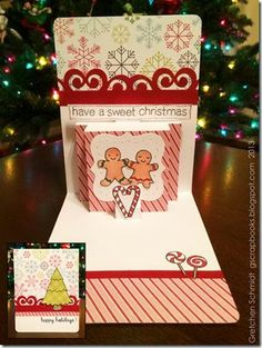 Gretchen Schmidt using the A2 Pop 'n Cuts Base, Multi-Tier Insert, Banner & Borders Thinlits and Labels & Stitched Frames Framelits - Happy Holidays! card using Pop `n Cuts Multi-Tier Insert by @Gretchen