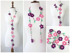 Crochet Lariat Necklace Strand Necklace Jewelry by fairstore, $22.00