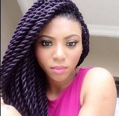 "Stephanie Coker's Large Senegalese twists. Looked this woman up and the hair used is regular kanekalon (explains the ""shine"" her hair has) so = Senegalese twists. If using the more natural looking Marley hair = Marley twists. If hair is in large parted sections, uses rougher ""Havana"" hair extentions(rougher than Marley hair) = Havana twists. So confusing smh lol"