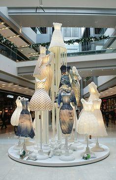 Paper Dresses   Hongkong IFC MALL  #retail #merchandising #fashion #display #windows