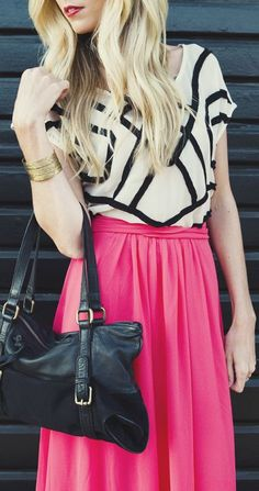Fuchsia Maxi Skirt & Geometric Top