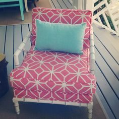 Outdoor furniture upholstered in Trina Turk fabric...