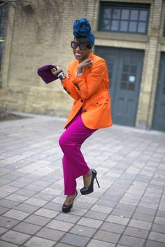Cute and colorful! #turban, #color, #glasses