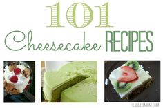 101 Cheesecake Recipes (lots of cupcakes, cheesecake bites, etc) #recipe