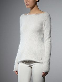 Buy Long sleeve angora pullover, Detachable pendant Patrizia Pepe Fly in metal, Slim fit, lightly flared at the bottom